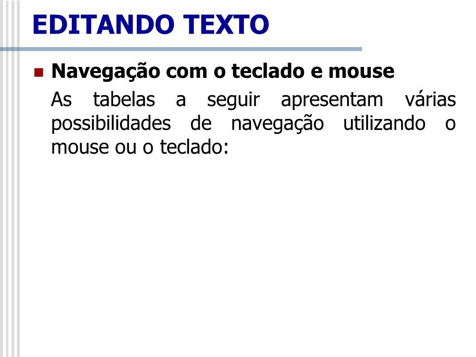 EDITANDO TEXTO Navegação com o teclado e mouse