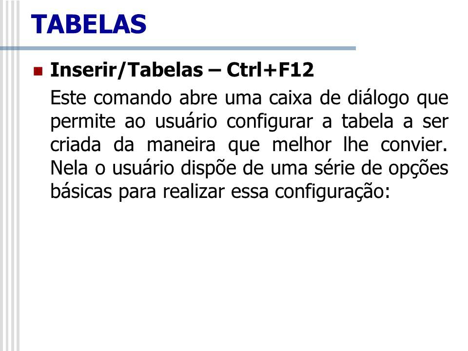 TABELAS Inserir/Tabelas – Ctrl+F12
