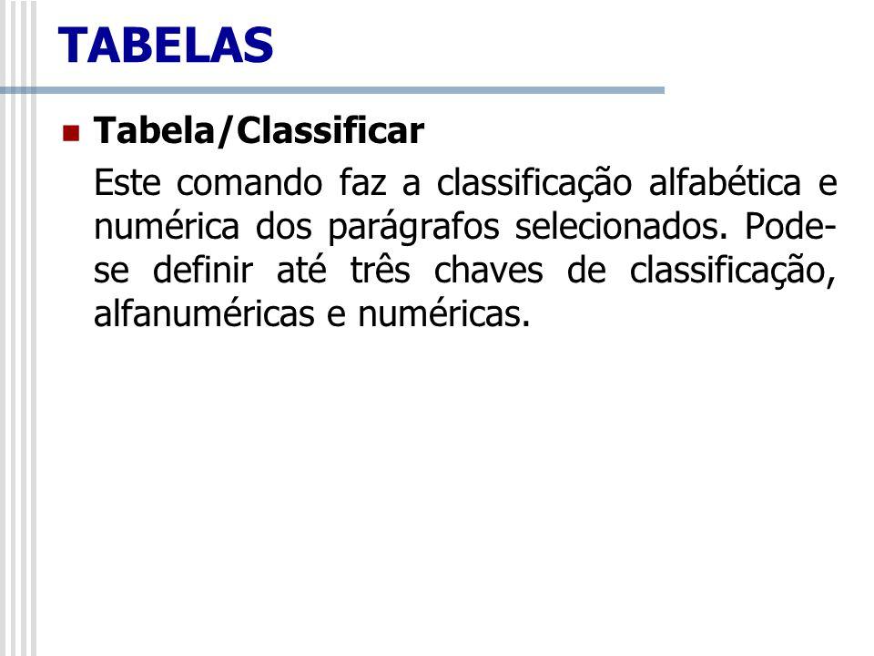 TABELAS Tabela/Classificar