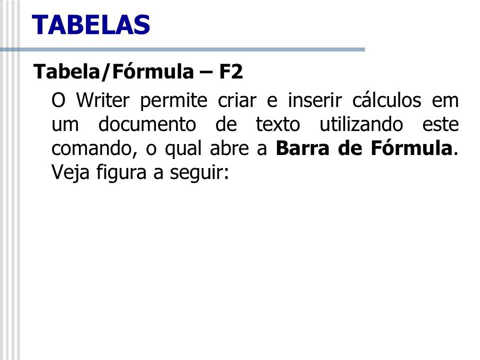 TABELAS Tabela/Fórmula – F2