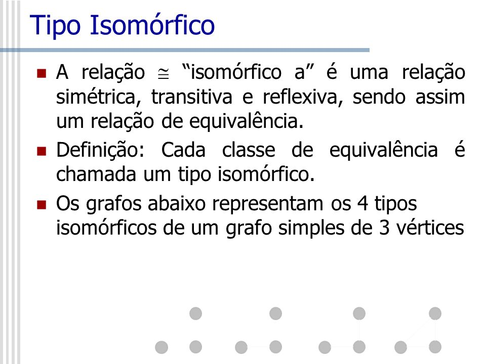 Tipo IsomórficoA relação  isomórfico a é uma relação simétrica, transitiva e reflexiva, sendo assim um relação de equivalência.