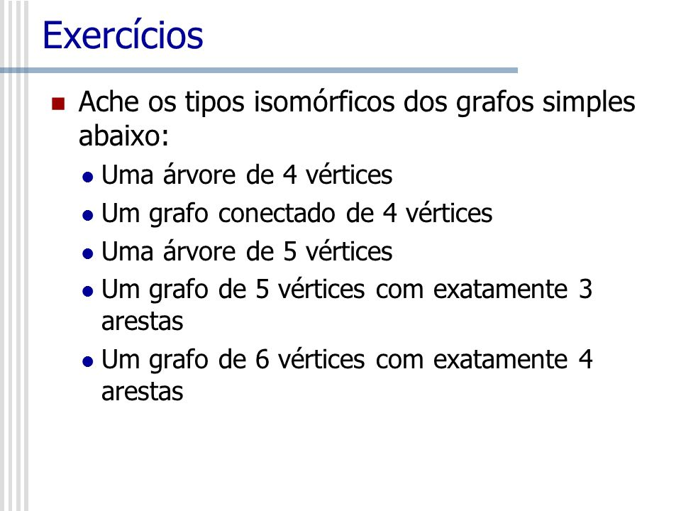 Exercícios Ache os tipos isomórficos dos grafos simples abaixo: