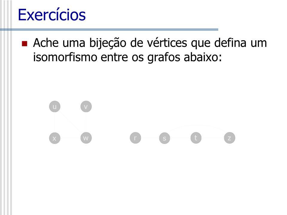 Exercícios Ache uma bijeção de vértices que defina um isomorfismo entre os grafos abaixo: u. v. x.