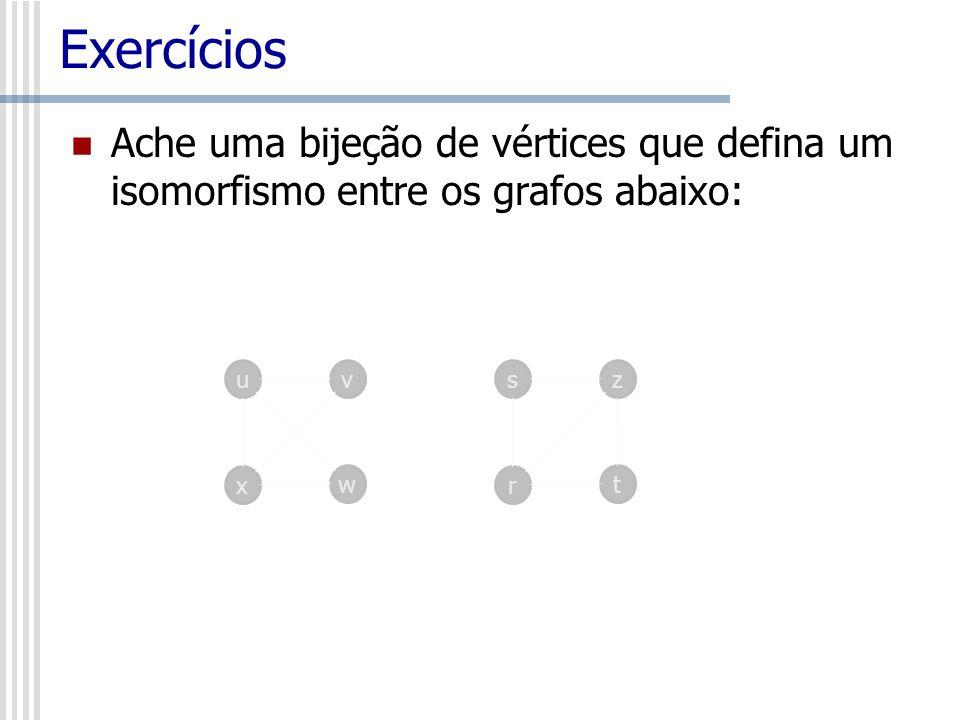 ExercíciosAche uma bijeção de vértices que defina um isomorfismo entre os grafos abaixo: u. v. s. z.