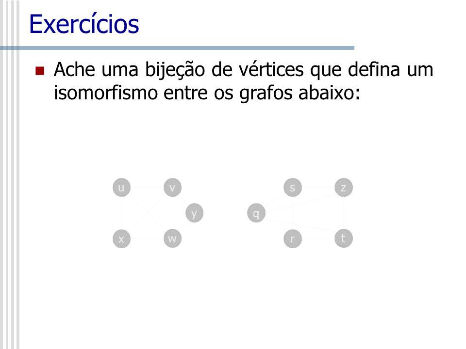 Exercícios Ache uma bijeção de vértices que defina um isomorfismo entre os grafos abaixo: u. v. s.