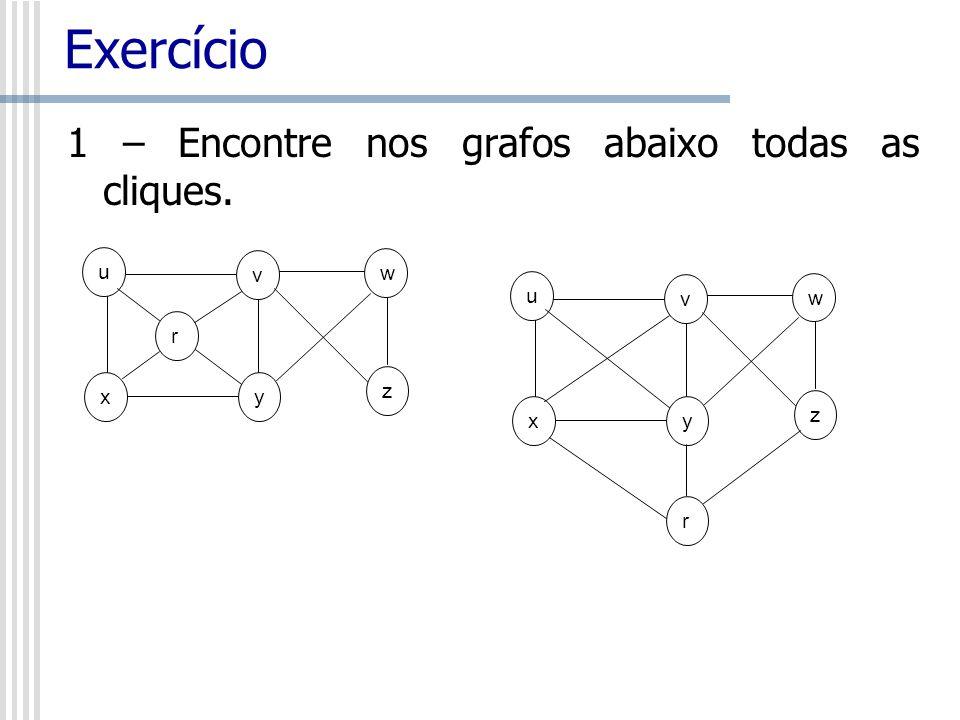 Exercício 1 – Encontre nos grafos abaixo todas as cliques. u r x y v w