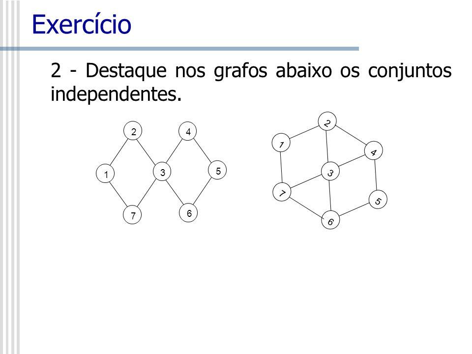 Exercício 2 - Destaque nos grafos abaixo os conjuntos independentes. 1