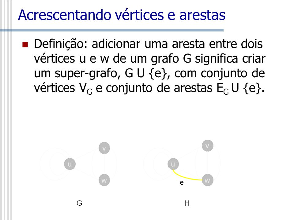 Acrescentando vértices e arestas