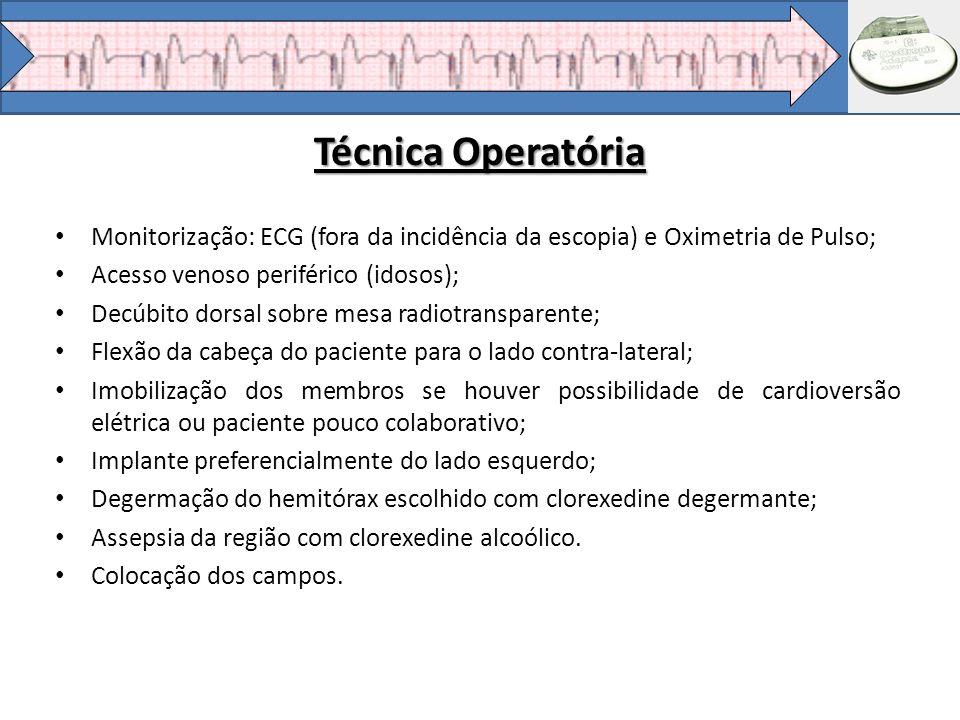 Técnica Operatória Monitorização: ECG (fora da incidência da escopia) e Oximetria de Pulso; Acesso venoso periférico (idosos);