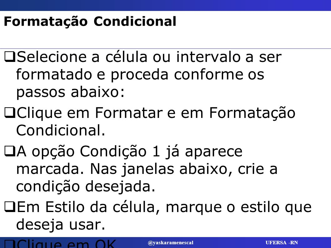 Formatação Condicional