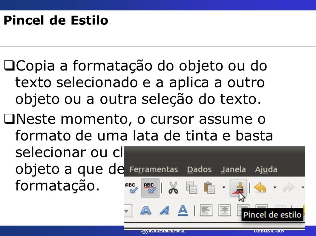 Pincel de Estilo Copia a formatação do objeto ou do texto selecionado e a aplica a outro objeto ou a outra seleção do texto.