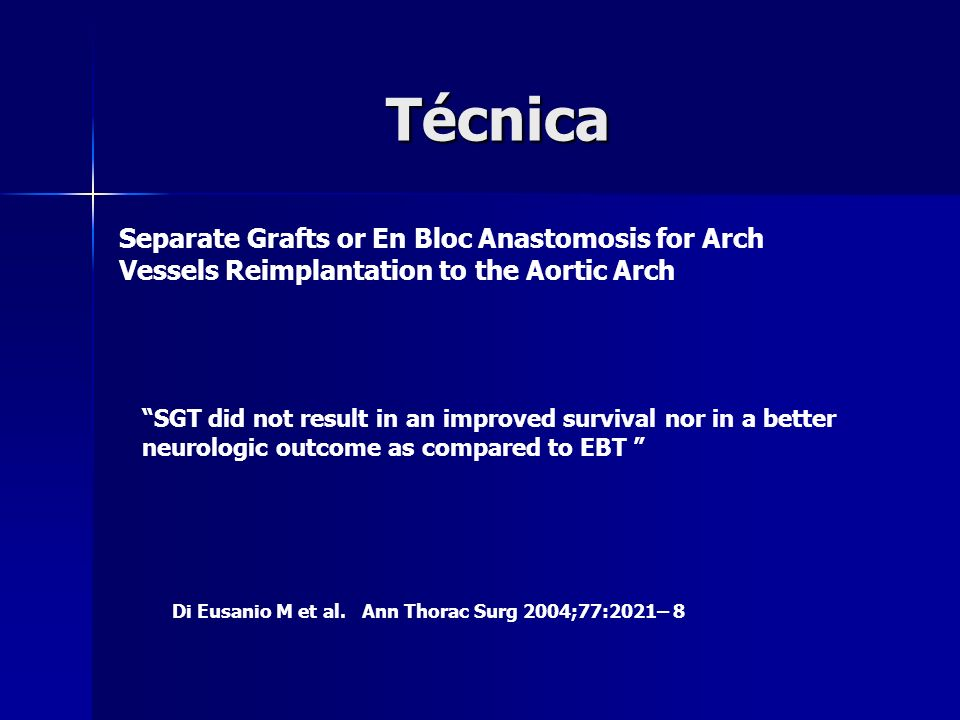 Técnica Separate Grafts or En Bloc Anastomosis for Arch