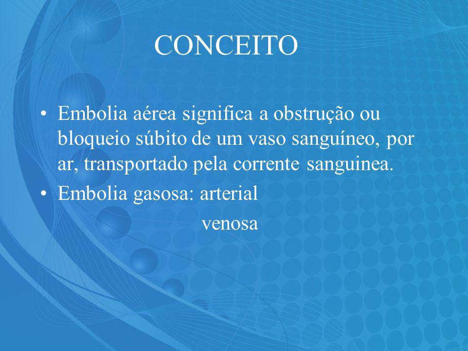 CONCEITOEmbolia aérea significa a obstrução ou bloqueio súbito de um vaso sanguíneo, por ar, transportado pela corrente sanguinea.