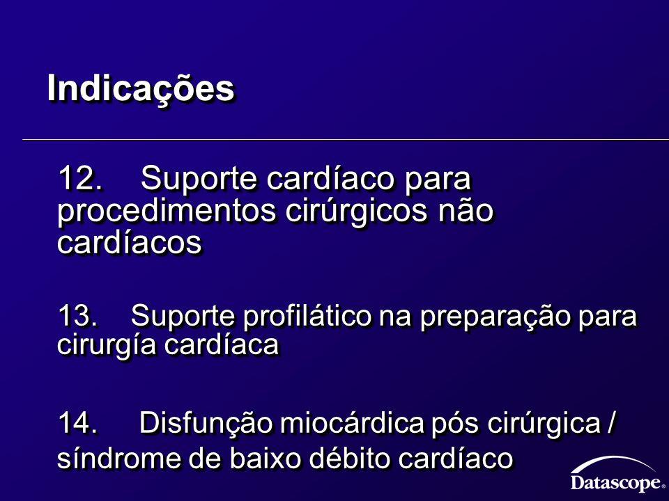 Indicações 12. Suporte cardíaco para procedimentos cirúrgicos não cardíacos. 13. Suporte profilático na preparação para cirurgía cardíaca.