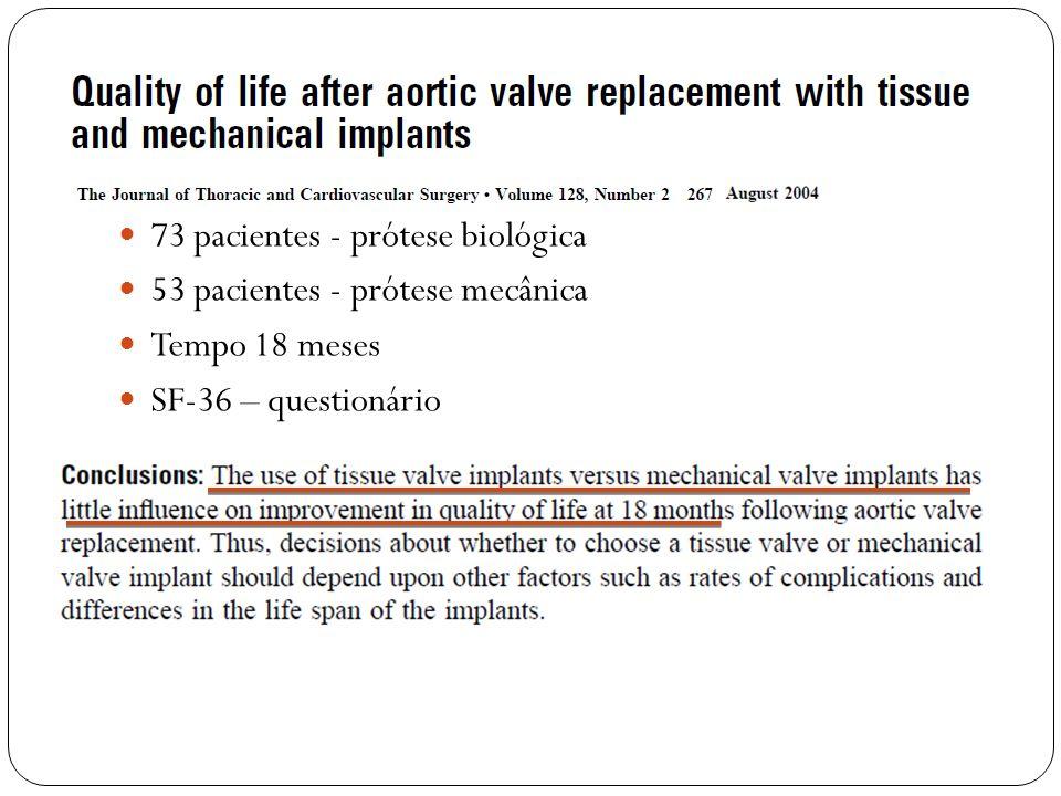 73 pacientes - prótese biológica