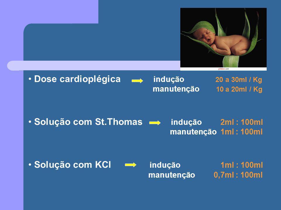 Dose cardioplégica indução 20 a 30ml / Kg