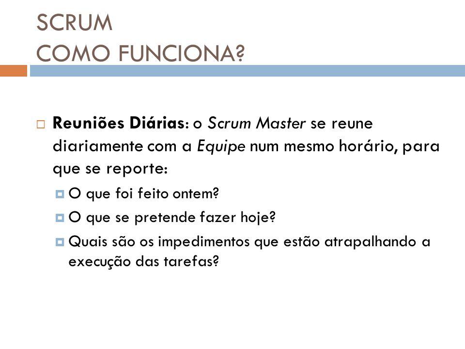 SCRUM COMO FUNCIONA Reuniões Diárias: o Scrum Master se reune diariamente com a Equipe num mesmo horário, para que se reporte: