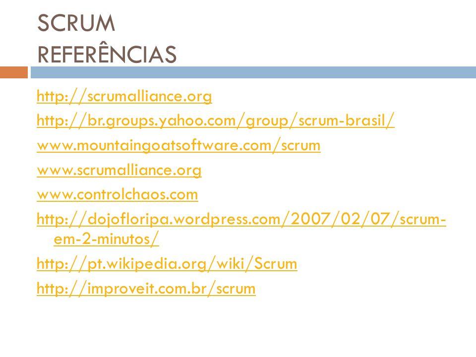 SCRUM REFERÊNCIAS http://scrumalliance.org