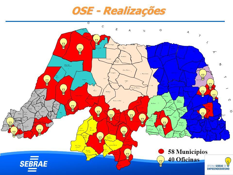 OSE - Realizações 58 Municípios 40 Oficinas MOSSORÓ CURRAIS NOVOS I O