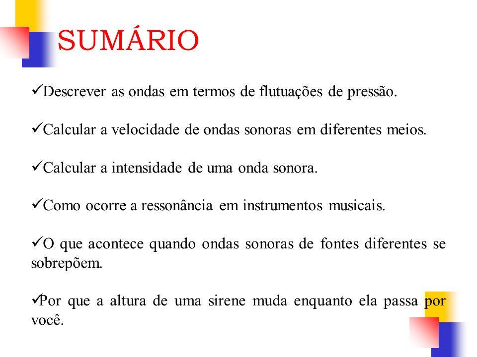 SUMÁRIO Descrever as ondas em termos de flutuações de pressão.