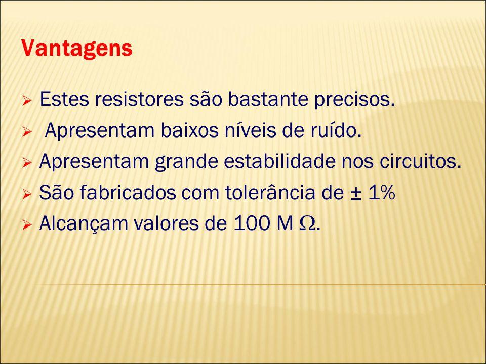 Vantagens Estes resistores são bastante precisos.