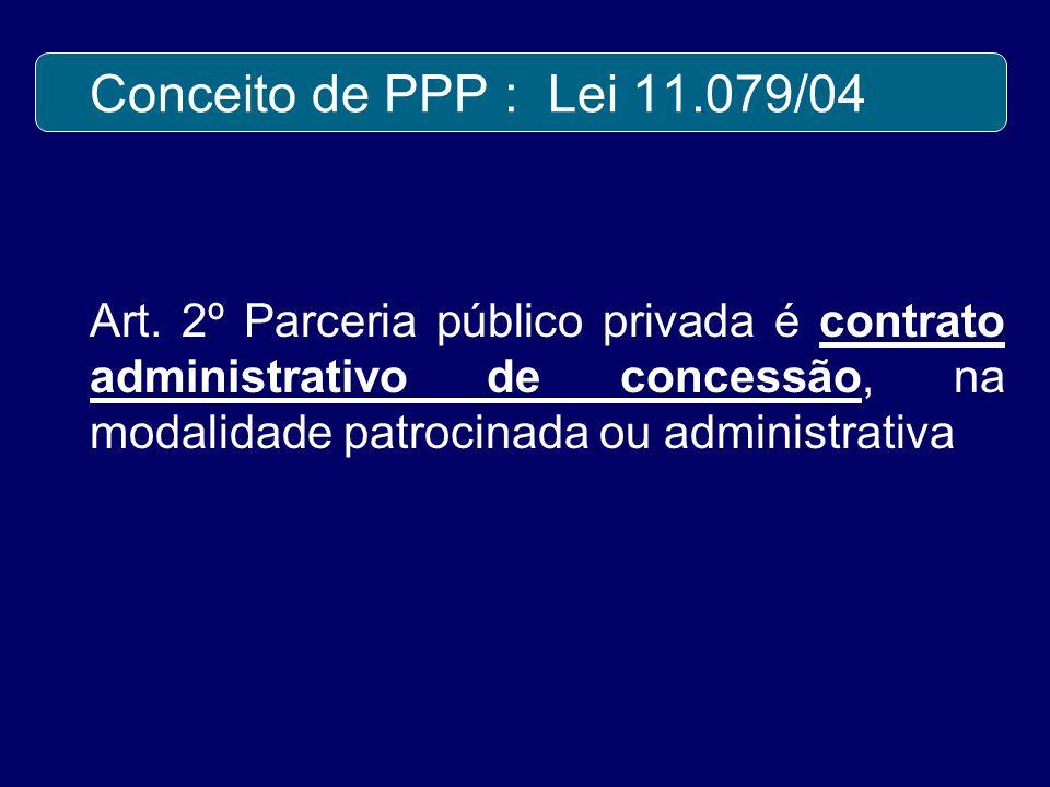 Conceito de PPP : Lei 11.079/04 Art.