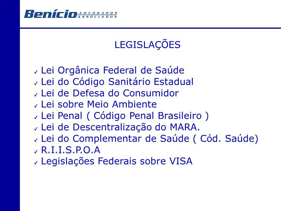 LEGISLAÇÕES Lei Orgânica Federal de Saúde. Lei do Código Sanitário Estadual. Lei de Defesa do Consumidor.
