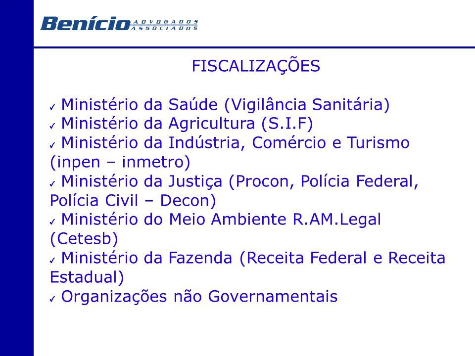 FISCALIZAÇÕES Ministério da Saúde (Vigilância Sanitária) Ministério da Agricultura (S.I.F)