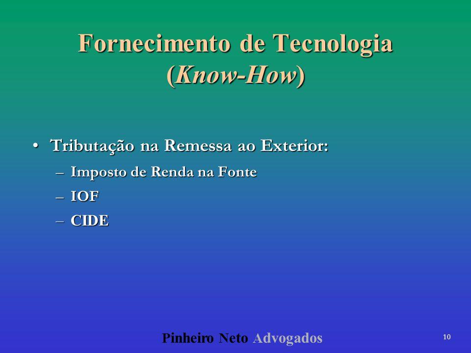 Fornecimento de Tecnologia (Know-How)