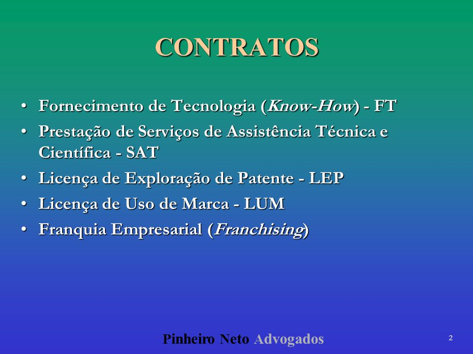 CONTRATOS Fornecimento de Tecnologia (Know-How) - FT