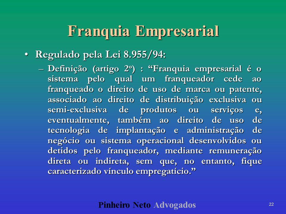 Franquia Empresarial Regulado pela Lei 8.955/94: