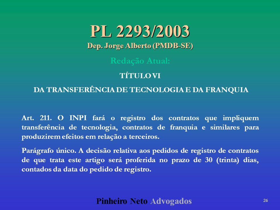 PL 2293/2003 Dep. Jorge Alberto (PMDB-SE)