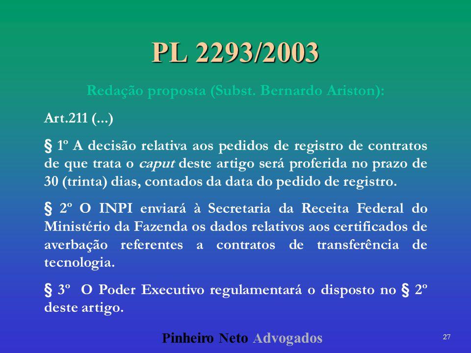 Redação proposta (Subst. Bernardo Ariston):