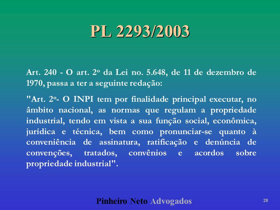 PL 2293/2003 Art. 240 - O art. 2o da Lei no. 5.648, de 11 de dezembro de 1970, passa a ter a seguinte redação: