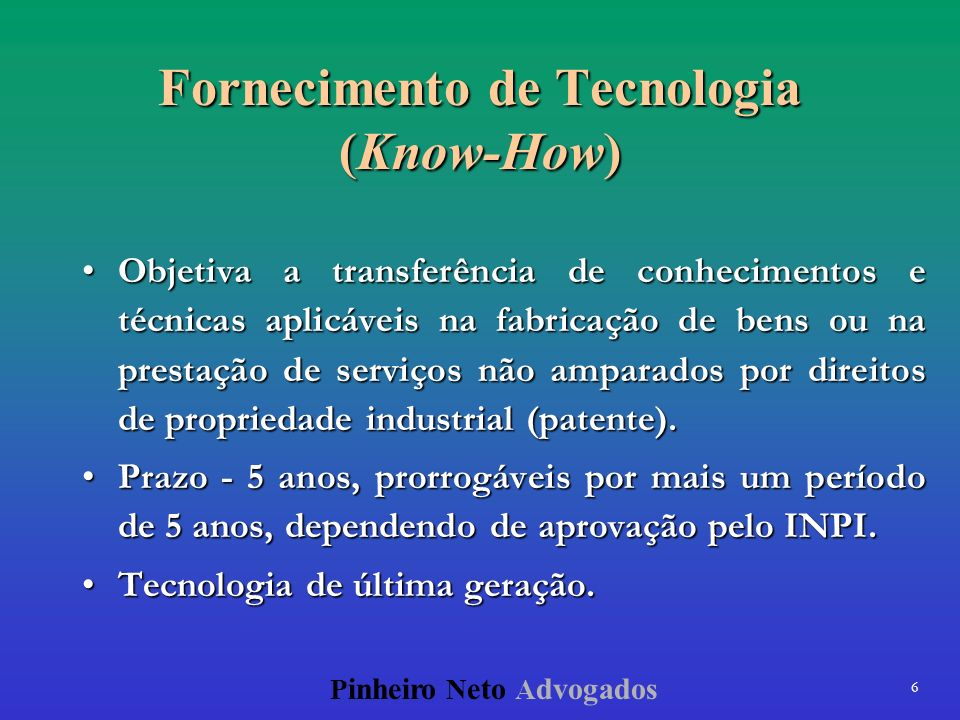 Fornecimento de Tecnologia (Know-How)