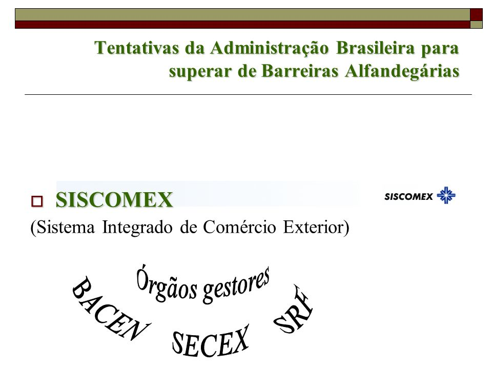 BACEN SRF SECEX SISCOMEX