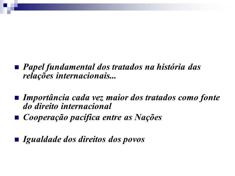 Papel fundamental dos tratados na história das relações internacionais...