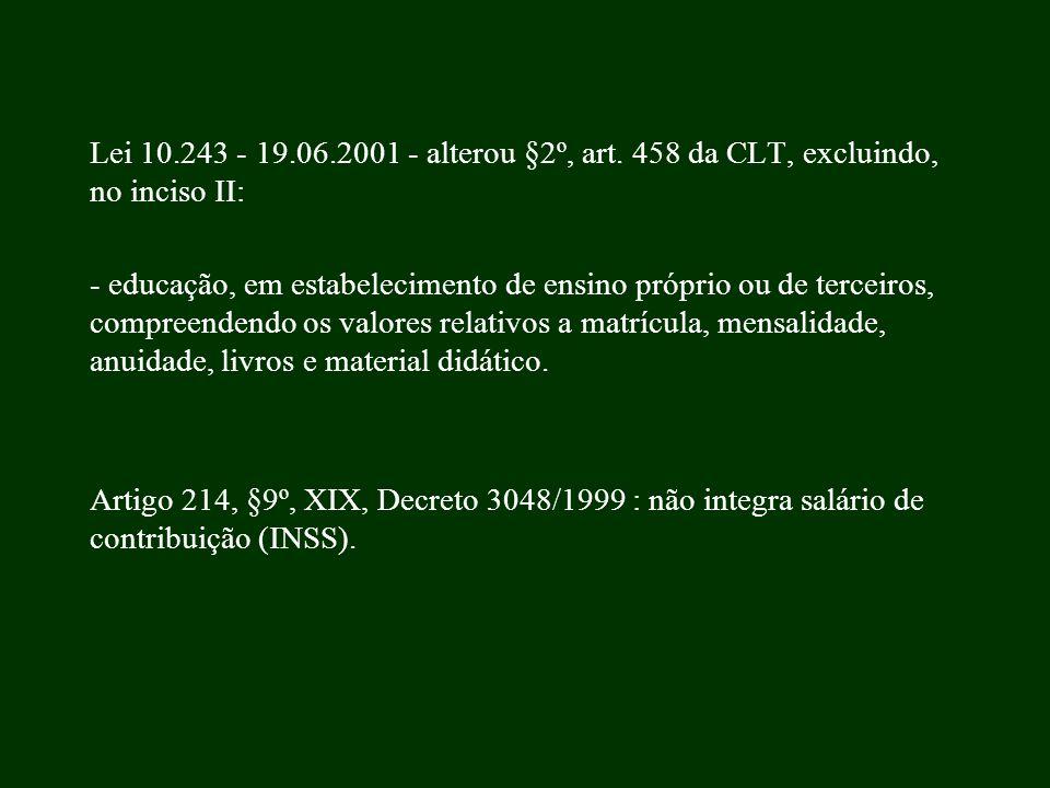 Lei 10.243 - 19.06.2001 - alterou §2º, art. 458 da CLT, excluindo, no inciso II: