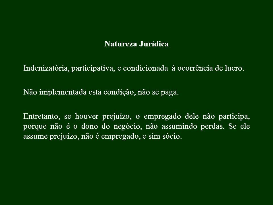 Natureza Jurídica Indenizatória, participativa, e condicionada à ocorrência de lucro. Não implementada esta condição, não se paga.