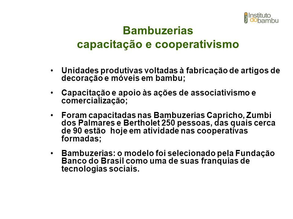 Bambuzerias capacitação e cooperativismo