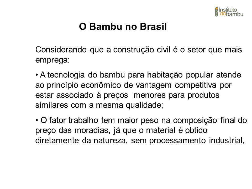 O Bambu no Brasil Considerando que a construção civil é o setor que mais emprega: