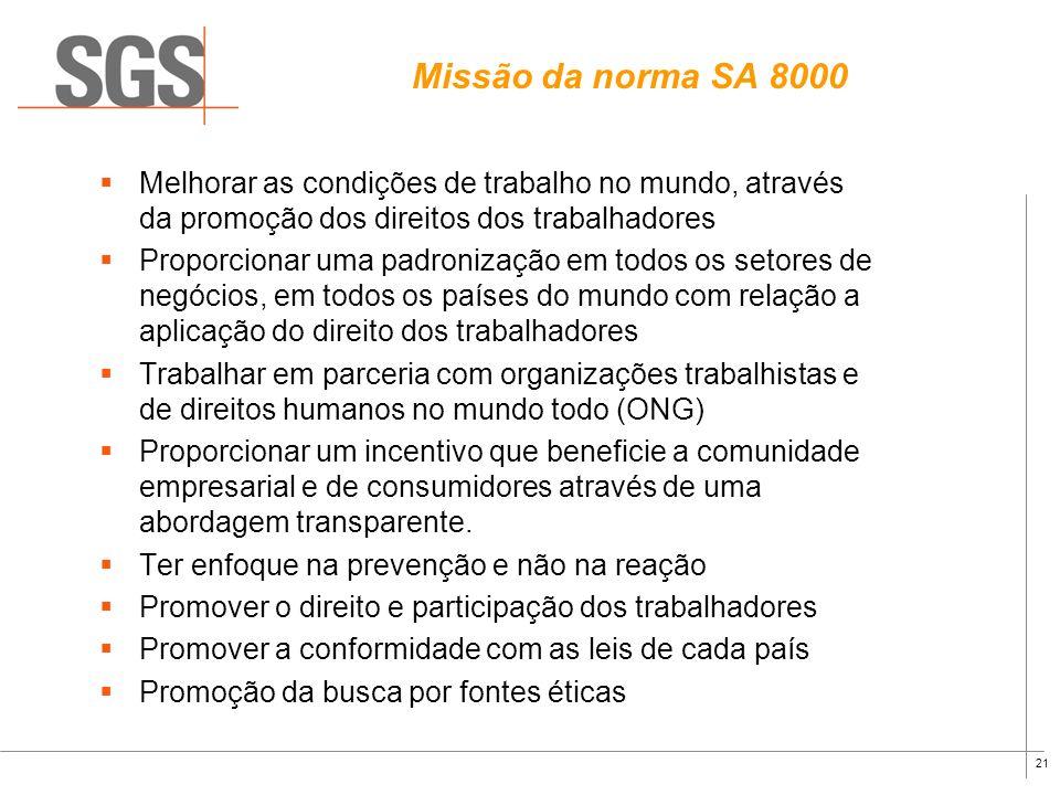 Missão da norma SA 8000Melhorar as condições de trabalho no mundo, através da promoção dos direitos dos trabalhadores.