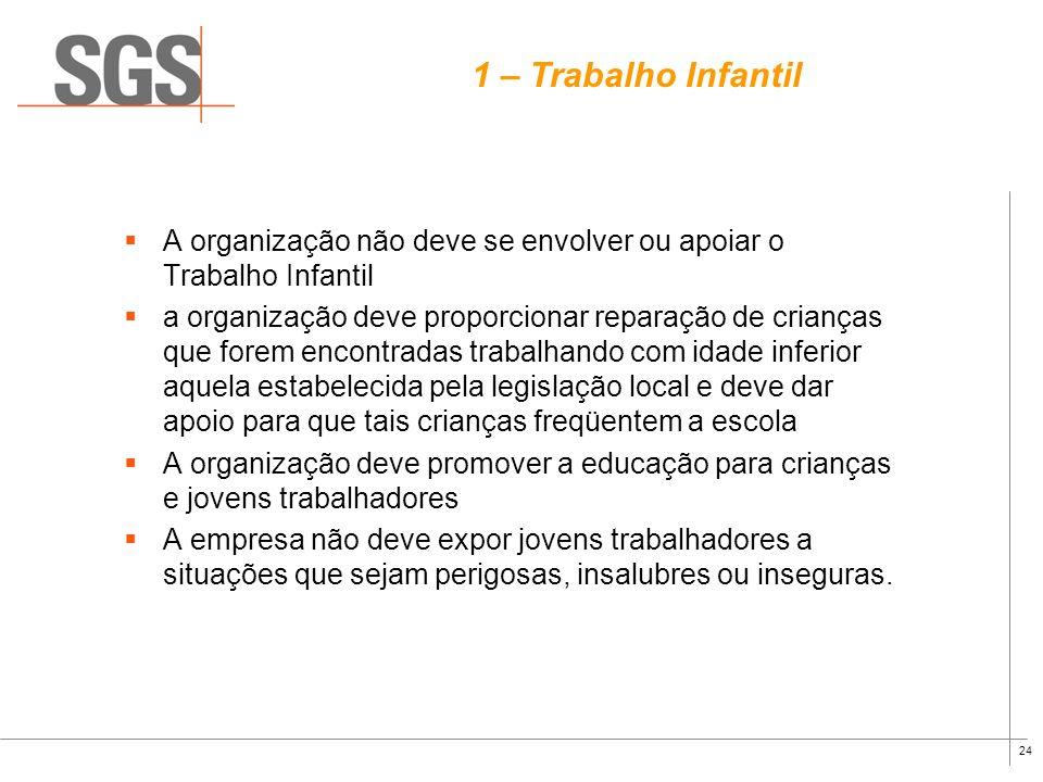 1 – Trabalho Infantil A organização não deve se envolver ou apoiar o Trabalho Infantil.