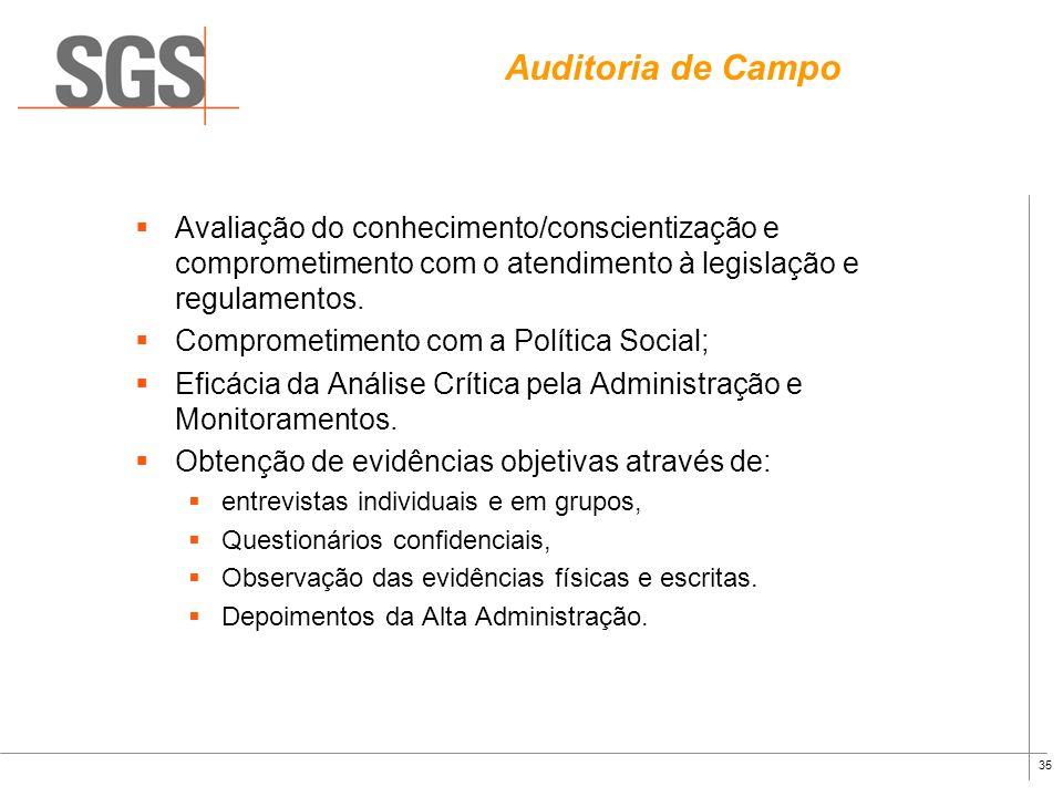 Auditoria de Campo Avaliação do conhecimento/conscientização e comprometimento com o atendimento à legislação e regulamentos.