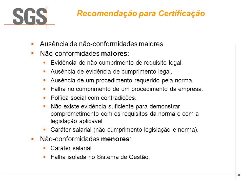 Recomendação para Certificação