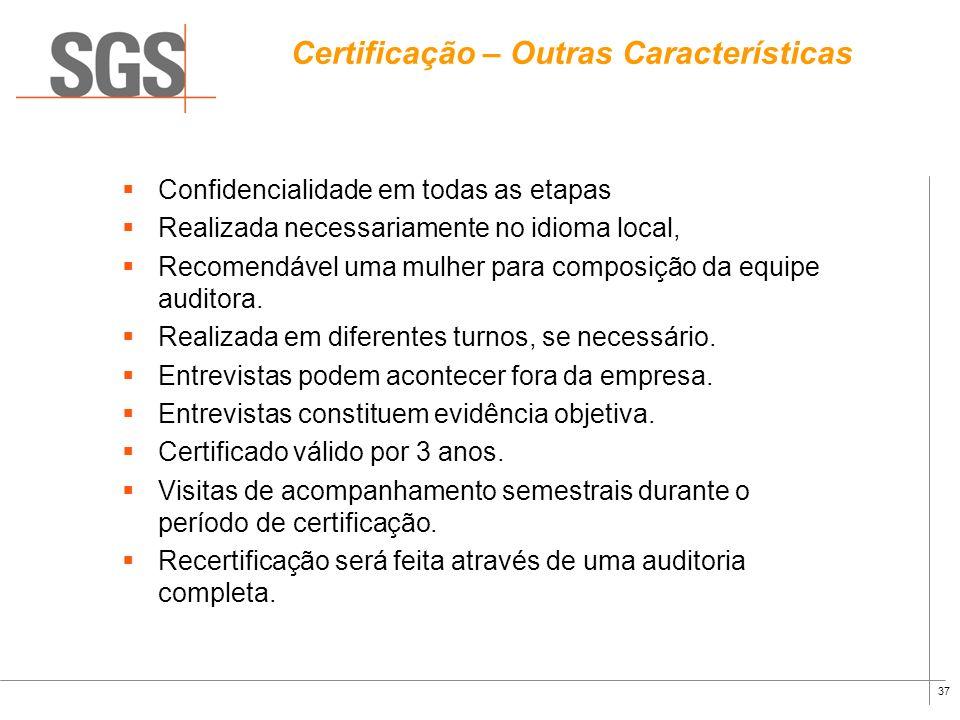 Certificação – Outras Características