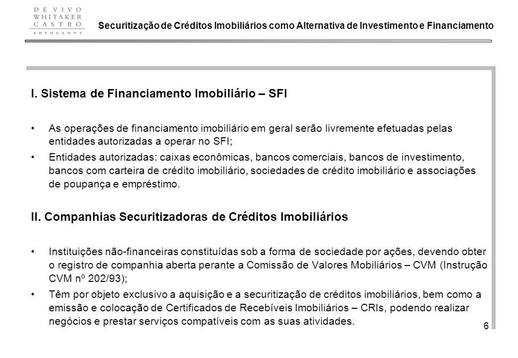 I. Sistema de Financiamento Imobiliário – SFI