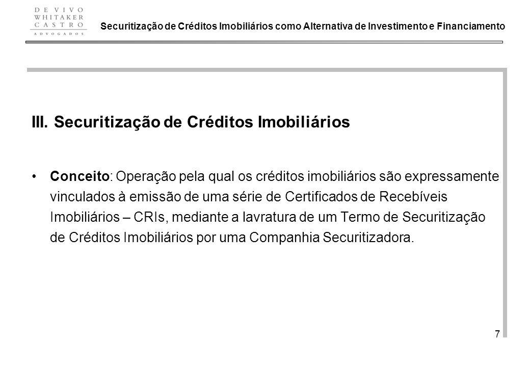 III. Securitização de Créditos Imobiliários