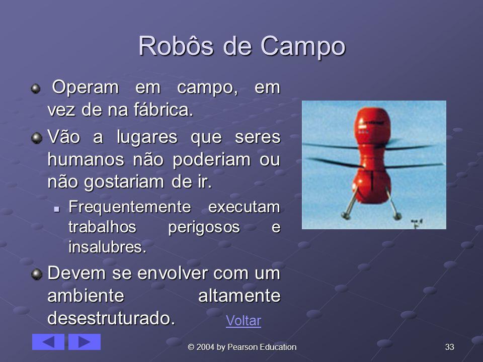 Robôs de Campo Operam em campo, em vez de na fábrica. Vão a lugares que seres humanos não poderiam ou não gostariam de ir.