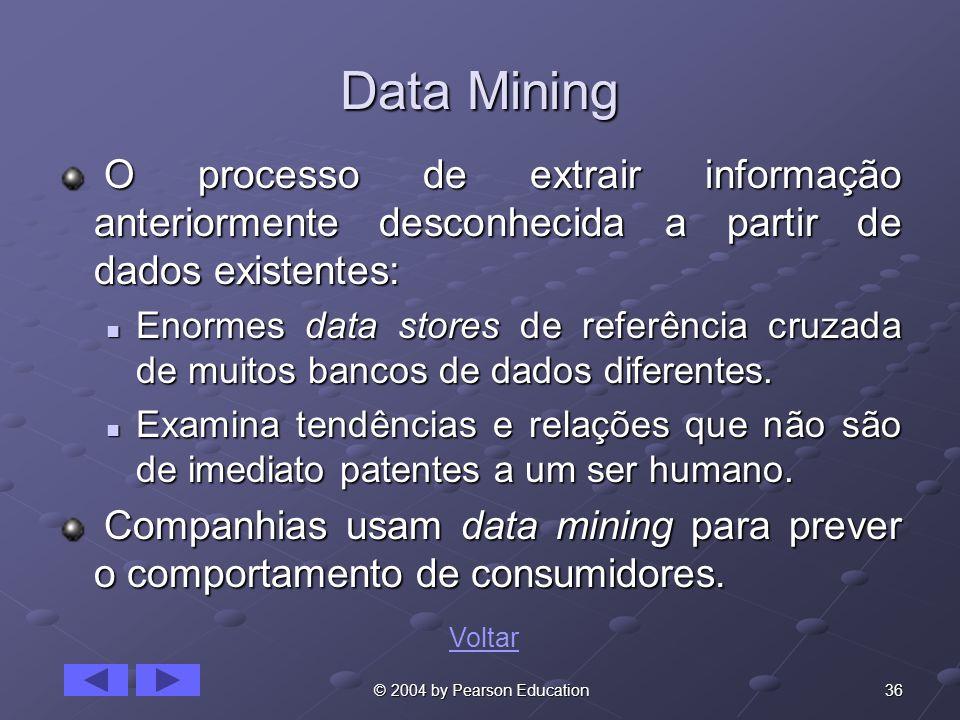 Data Mining O processo de extrair informação anteriormente desconhecida a partir de dados existentes: